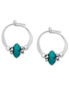 Jody Coyote Sterling Silver Earrings, Small Simulated Turquoise Bead Hoop Earrings