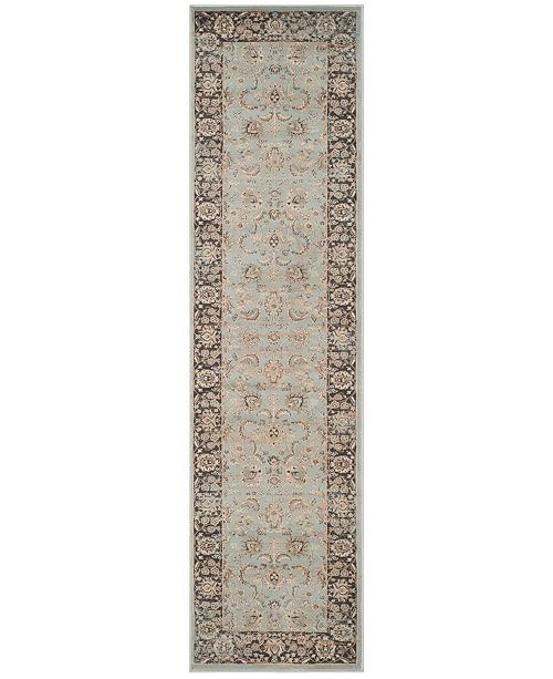 "Safavieh Vintage Light Blue and Black 2'2"" x 8' Runner Area Rug"