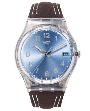 SWATCH Watch, Unisex Swiss Blue Choco Brown Leather Strap 34Mm Gm415