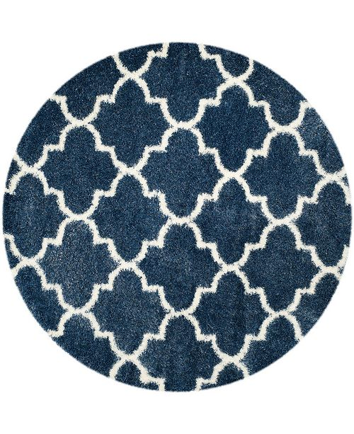 """Safavieh Montreal Blue and Ivory 6'7"""" x 6'7"""" Round Area Rug"""