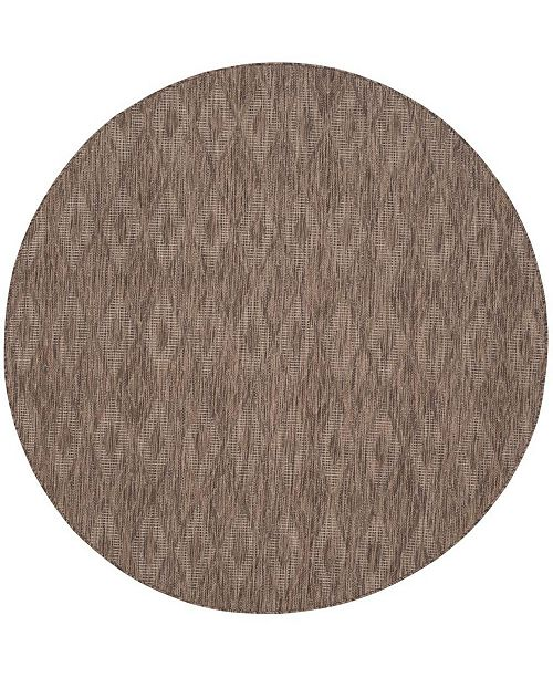 "Safavieh Courtyard Brown 6'7"" x 6'7"" Sisal Weave Round Area Rug"
