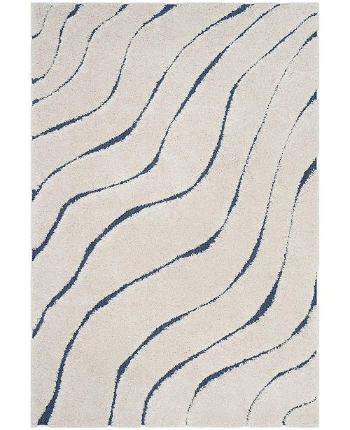 "Safavieh Shag Cream and Blue 5'3"" x 7'6"" Area Rug"