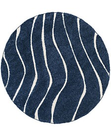 "Safavieh Shag Dark Blue and Cream 6'7"" x 6'7"" Round Area Rug"