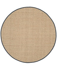 Natural Fiber Natural and Dark Gray 6' x 6' Sisal Weave Round Area Rug