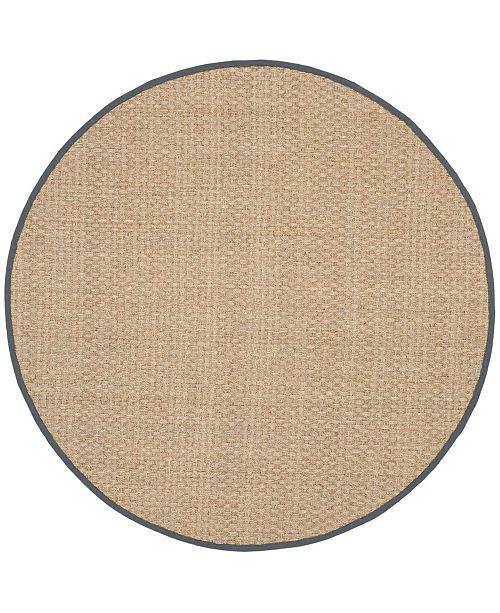 Safavieh Natural Fiber Natural and Dark Gray 6' x 6' Sisal Weave Round Area Rug