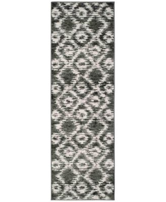 "Adirondack Charcoal and Ivory 2'6"" x 8' Runner Area Rug"