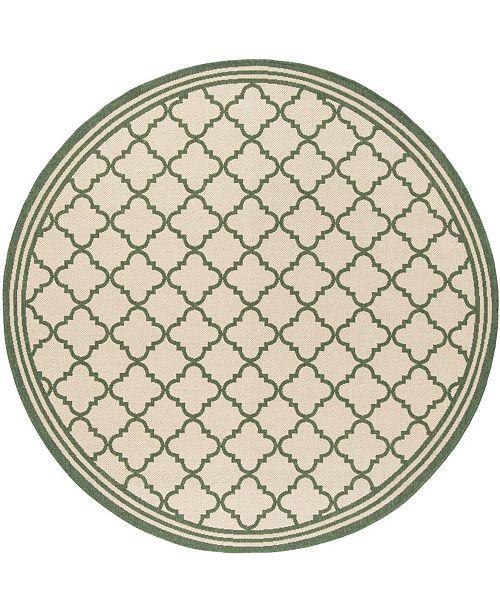 "Safavieh Linden Cream and Green 6'7"" x 6'7"" Round Area Rug"