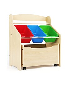 Kids 3-Tier Storage Organizer with Rolling Toy Box