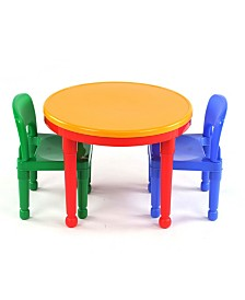 Kids Round Lego-compatible Table and 2 Chairs Set