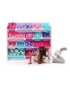 Kids Wood Super-Sized Toy Organizer with 16 Plastic Bins