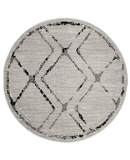 "Safavieh Skyler Ivory and Gray 6'7"" x 6'7"" Round Area Rug"