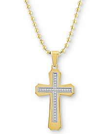 """Men's Diamond Cross 22"""" Pendant Necklace (1/6 ct. t.w.) in Gold Ion-Plated Stainless Steel"""