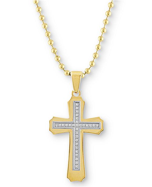 """Macy's Men's Diamond Cross 22"""" Pendant Necklace (1/6 ct. t.w.) in Gold Ion-Plated Stainless Steel"""
