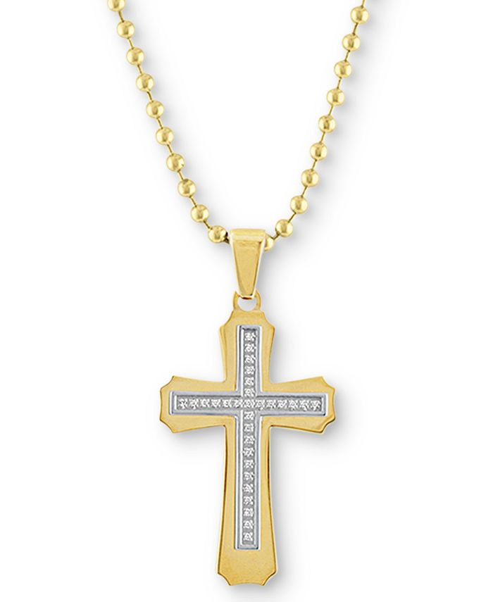 """Macy's - Men's Diamond Cross 22"""" Pendant Necklace (1/6 ct. t.w.) in Gold Ion-Plated Stainless Steel"""