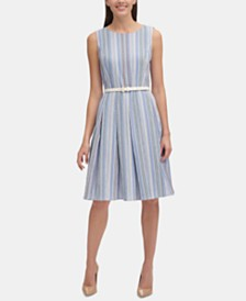 Tommy Hilfiger Belted Fit & Flare Dress