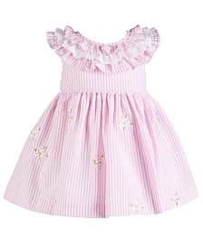 Bonnie Baby Baby Girls Embroidered Seersucker Dress
