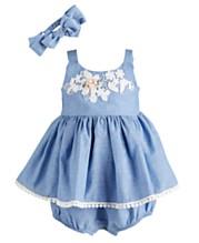 6820e0327 Bonnie Baby Baby Girls 2-Pc. Chambray Bubble Dress & Headband Set