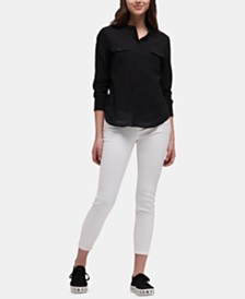 DKNY 3/4-Sleeve Button-Front Top