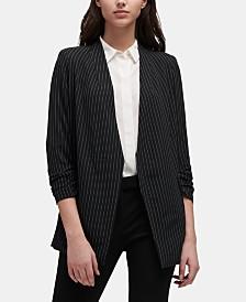 DKNY Pinstripe Open-Front Blazer