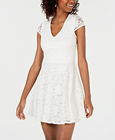 Juniors' Lace Tie-Back Fit & Flare Dress