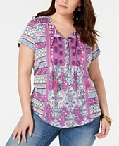 5f717a8a2f0964 Style   Co Plus Size Printed Split-Neck Top