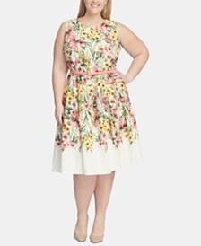 Tommy Hilfiger Plus Size Floral Eyelet Fit & Flare Dress