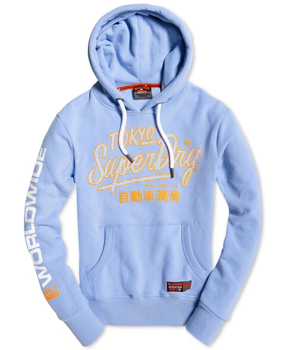 Superdry Mens Logo Graphic Hoodie, Blue, Size: XL