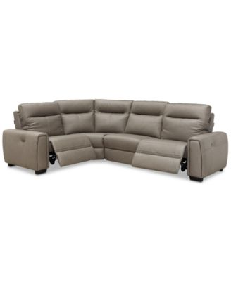 """Cheadle 4-Pc. Leather """"L"""" Sectional Sofa with 2 Power Recliners, Created for Macy's"""