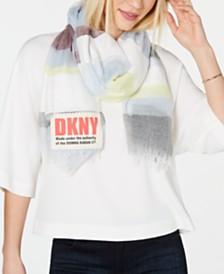 DKNY Multi-Stripe Logo Scarf