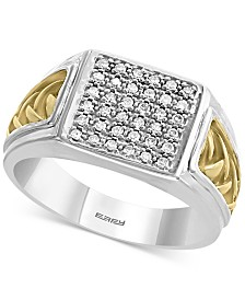 EFFY® Men's Diamond Cluster Ring (1/5 ct. t.w.) in Sterling Silver & 18k Gold-Plate