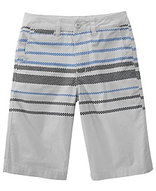 Univibe Big Boys Sector Regular-Fit Checker-Stripe Shorts