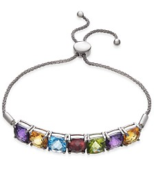 Multi-Gemstone (11 ct. t.w.) Bolo Bracelet in Sterling Silver