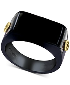 EFFY® Men's Black Onyx & 18k Gold Ring in Black PVD-Coated Sterling Silver