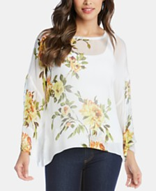 Karen Kane Printed Sheer Top
