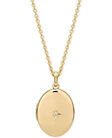 "Diamond Accent Locket Pendant Necklace in 14k Gold-Plate Over Sterling Silver, 16"" + 2"" extender"
