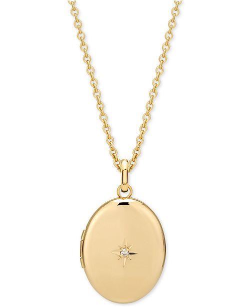"Sarah Chloe Diamond Accent Locket Pendant Necklace in 14k Gold-Plate Over Sterling Silver, 16"" + 2"" extender"