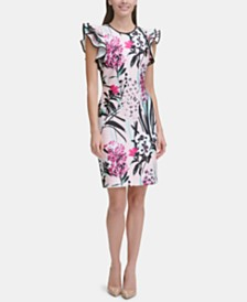 Tommy Hilfiger Printed Ruffle-Sleeve Scuba Sheath Dress