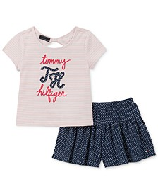 Toddler Girls 2-Pc. Bow-Back T-Shirt & Dot-Print Shorts Set