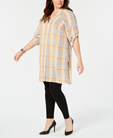 Alfani Plus Size Plaid Super Tunic, Created for Macy's