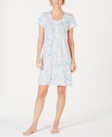 Miss Elaine Cottonessa Flower-Print Eyelet-Trim Knit Nightgown