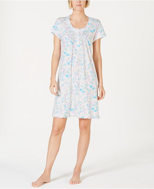 Miss Elaine Cottonessa Flower-Print Eyelet-Trim Knit Nightgown