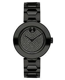 Women's Swiss BOLD Black Stainless Steel Bracelet Watch 32mm