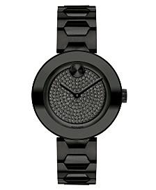 Movado Women's Swiss BOLD Black Stainless Steel Bracelet Watch 32mm