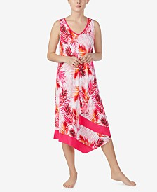 Ellen Tracy Printed Asymmetrical Midi-Nightgown