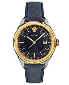 Men's Swiss Glaze Blue Leather Strap Watch 43mm