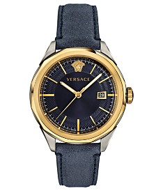 Versace Men's Swiss Glaze Blue Leather Strap Watch 43mm