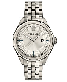 Versace Men's Swiss Glaze Stainless Steel Bracelet Watch 43mm