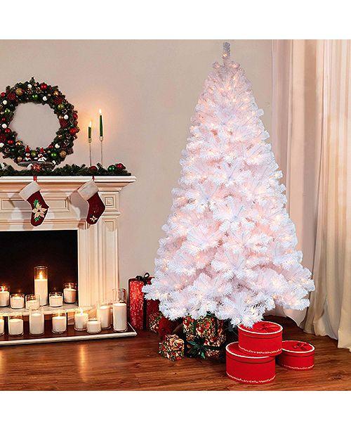White Fir Christmas Tree: Puleo International 7.5 Ft. Pre-lit Noble Fir White