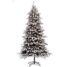 International 7.5 ft Pre-lit Flocked Birmingham Fir Artificial Christmas Tree 400 UL listed Clear Lights