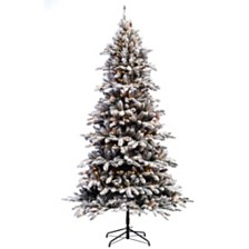 Puleo International 7.5 ft Pre-lit Flocked Birmingham Fir Artificial Christmas Tree 400 UL listed Clear Lights